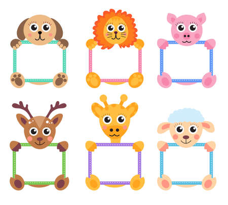 animals frame: Animals holding blank banners and signs. Animals text box set. Vector illustration