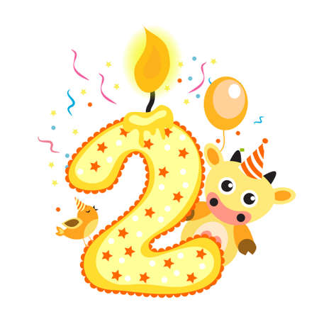two animals: Happy Second Birthday Candle and Animals Isolated on white. The number two. Vector illustration