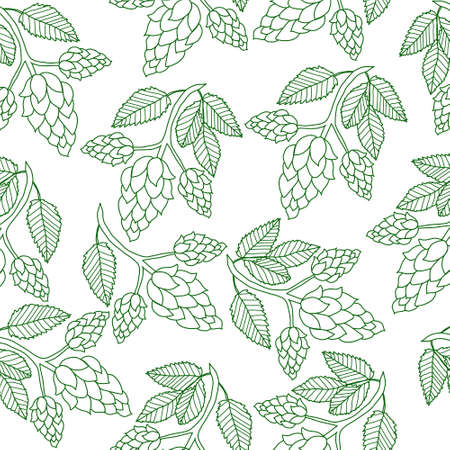 Hops plant seamless pattern, hand drawing style. Hops background. Hops wallpaper. Vector illustration 免版税图像 - 59112981