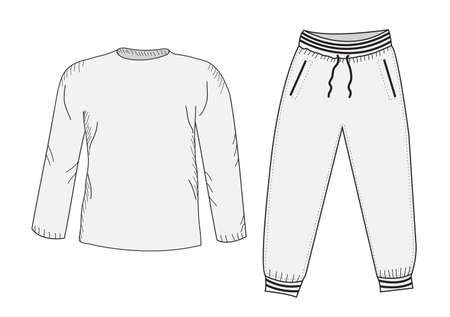 Jacke und Jogginghose. Trainingsanzug, Skizze. Things im Stil der Handzeichnung. Sportbekleidung. Sport Mockup Anzug. Vektor-Illustration