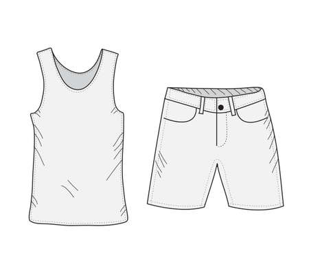 tank top: T-shirt and shorts sketch set. Things in the style of hand drawing. Summer clothes casual style. Tank top and shorts mockup. Vector illustration