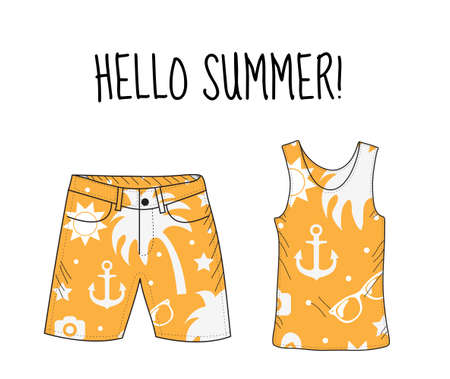 summer clothes: Hello summer T-shirt and shorts with beach print. Summer, beach theme. T-shirt and shorts, summer clothes. Vector illustration.