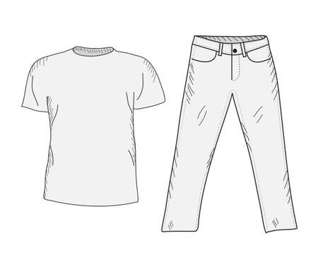 casual wear: T-shirt and jeans sketch set. Things in the style of hand drawing. Clothing casual style. T-shirt and jeans mockup. Vector illustration