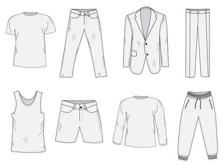 Bekleidungsset Skizze. Herrenkleidung, Hand-Zeichenstil. Business-Anzug, Jogging-Anzug, T-Shirt und Shorts, Sommerkleidung. Männer Kleidung Vektor-Illustration.
