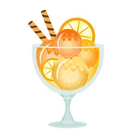 flavor: Ice cream dessert in a glass cup. Milk cocktail with orange flavor. Vector illustration.