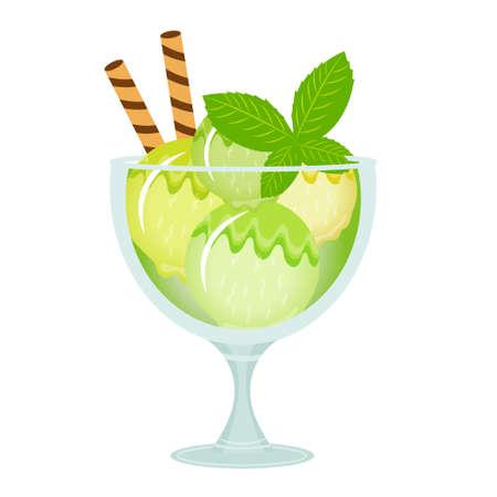 milk shake: Ice cream dessert in a glass cup. Milk shake with mint flavor. Vector illustration.