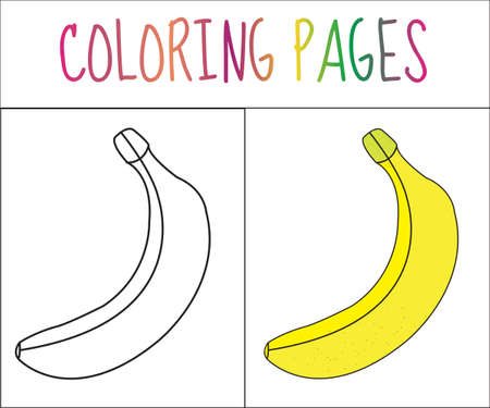 color page: Coloring book page. Banana. Sketch and color version. Coloring for kids. Vector illustration Illustration