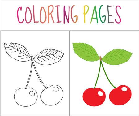Colorear Página Del Libro. Fresa. Croquis Y Versión En Color ...
