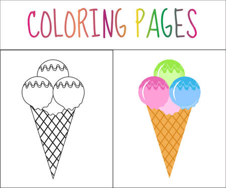 book pages: Coloring book page. Ice cream. Sketch and color version. Coloring for kids. Vector illustration Illustration