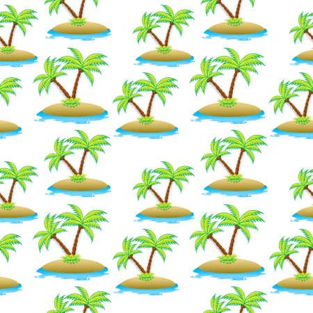 섬, 팜 트리 원활한 텍스처입니다. 여름 원활한 패턴입니다. 벡터 일러스트 레이 션.