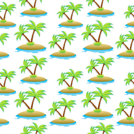 island, palm tree seamless texture. Summer seamless pattern. Vector illustration.