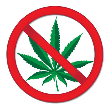 canabis: Sign of prohibition cannabis. Red sign ban marijuana. Stop drugs sign. Vector illustration Illustration