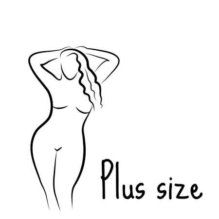Además de mujer modelo de tamaño boceto. estilo de dibujo a mano. Diseño del icono del cuerpo curvilíneo. ilustración vectorial