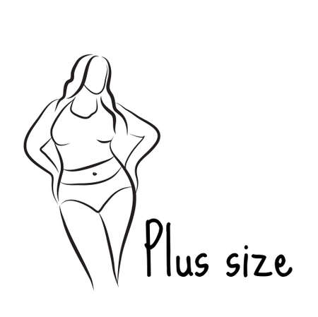 Plus size model woman sketch. Hand drawing style. Curvy body icon design. Vector illustration