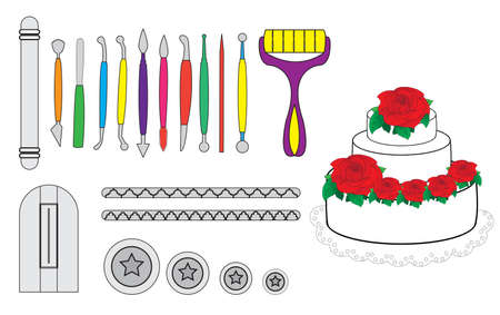 cake decorating: Modelling Tools for Icing & Decorating Sugarpaste, Marzipan, Pastillage. Tools for cake decorating. Birthday cake vector illustration.