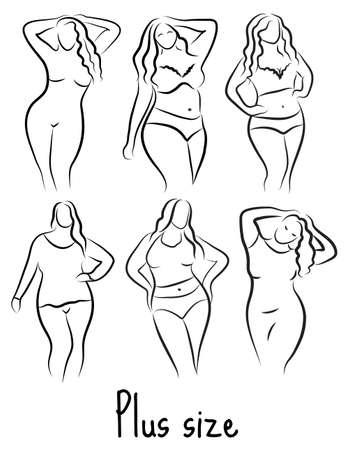 De plus le modèle de taille esquisse femme. Main style de dessin. Curvy icône corps design. Vector illustration