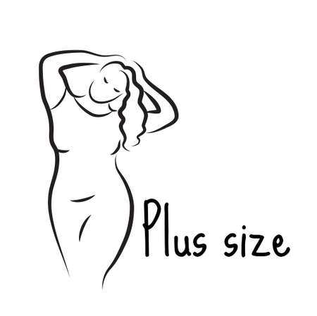 big size: Plus size model woman sketch. Hand drawing style.  Curvy body icon design. Vector illustration
