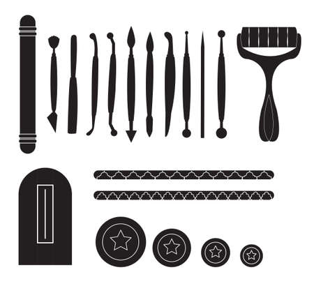 battledore: Modelling Tools for Icing & Decorating Sugarpaste, Marzipan, Pastillage. Tools for cake decorating. Birthday cake vector illustration.