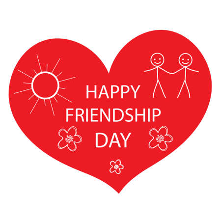 fun day: Greeting card with a happy friendship day. Greeting heart hand drawing style. Vector illustration Illustration