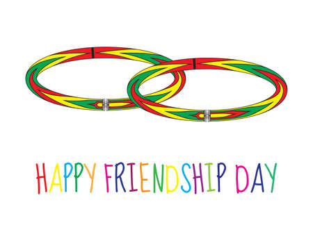 wristband: Greeting card with a happy friendship day. Greeting card with a friendship bracelet, wristband. Vector illustration