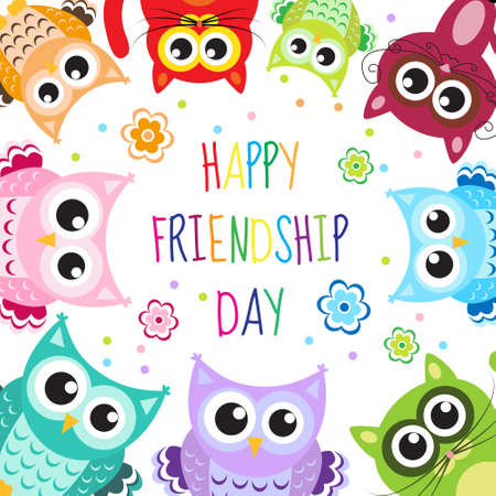 white poster: Greeting card with a happy friendship day. Greeting cute cartoon animals owls, cats. Vector illustration Illustration