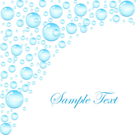 Soap bubbles background with space for text. Template for the text with soap bubbles, water droplets. vector illustration