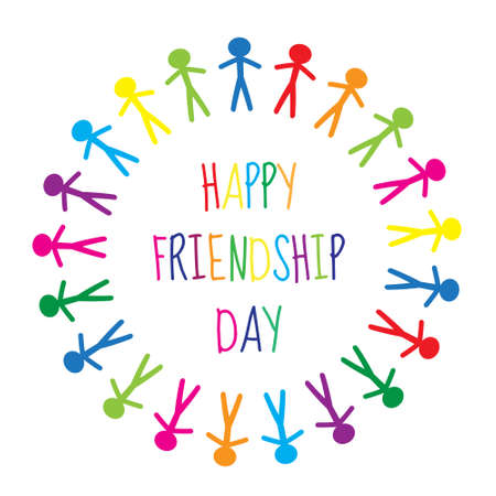 friendship circle: Greeting card with a happy friendship day. Greeting card people holding hands, circle. Vector illustration