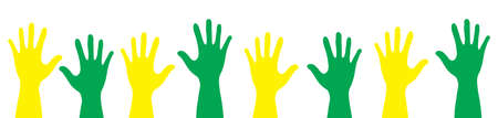 crowd happy people: Banner color hands rise up. Vector illustration