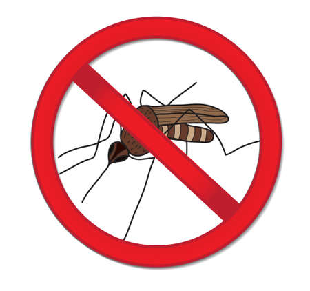 stop mosquito: Red sign ban mosquito. Stop mosquito insect. Vector illustration Illustration