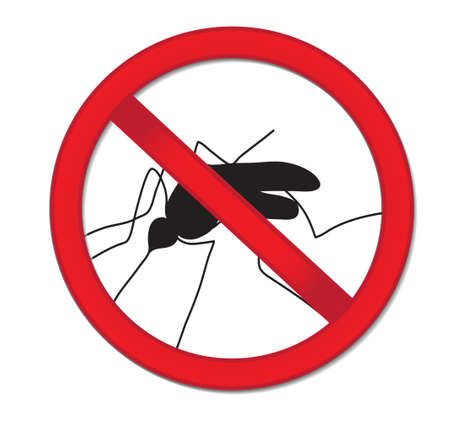 Red sign ban mosquito. Stop mosquito insect. Vector illustration Illustration