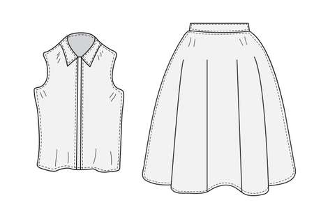 vest in isolated: Skirt and blouse set sketch retro style. Clothes, hand-drawing, doodle style. Women suit. vector illustration. Illustration