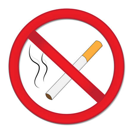 abstain: Red sign smoking ban. Stop cigarette nicotine. Vector illustration.