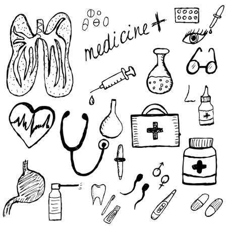medical drawing: Medical set sketch, hand drawing style. Medicine icons. Vector illustration Illustration