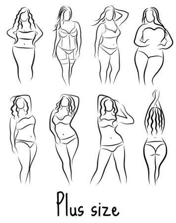 Set Girl Silhouette Skizze und Größe Modell. Kurvige Frau Symbol. Vektor-Illustration
