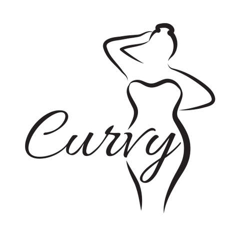 plus size girl: plus size woman. Curvy woman symbol. Vector illustration