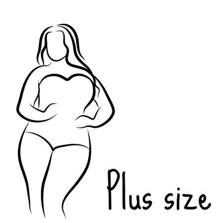 Girl silhouette sketch plus size model. Curvy woman symbol. Vector illustration Stock Illustratie