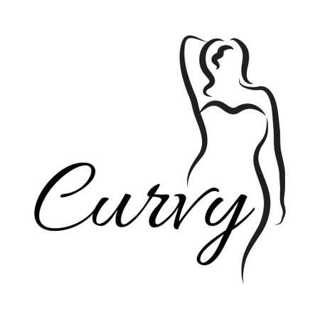además de mujer de tamaño. símbolo de la mujer con curvas. ilustración vectorial
