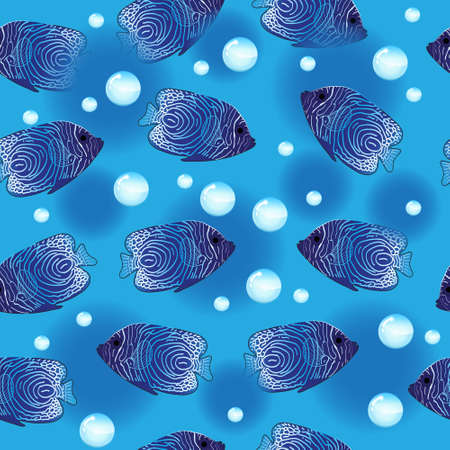 pomacanthus imperator: Angel Fish seamless pattern, underwater background, sea wallpaper. Vector illustration Illustration