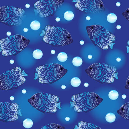 Angel Fish seamless pattern, underwater background, sea wallpaper. Vector illustration  イラスト・ベクター素材