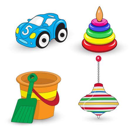 juguetes de los niños de la historieta fijados, perinola, cubo y la pala, coche, pirámide. ilustración vectorial