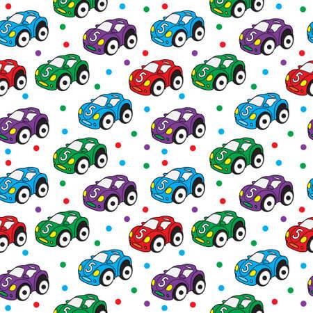 Children's toy car seamless texture. Car background, children's wallpaper. Vector illustration