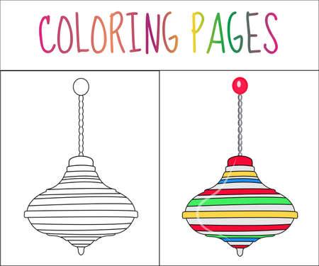 molinete: Colorear p�gina del libro. juguete molinete. Croquis y versi�n en color. Dibujos para colorear para ni�os. ilustraci�n vectorial