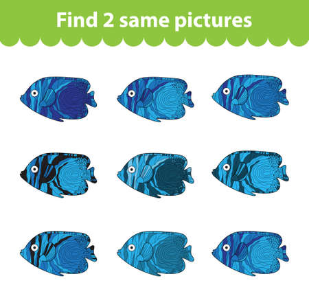same: Childrens educational game. Find two same pictures. Set of fish for the game find two same pictures. Vector illustration.