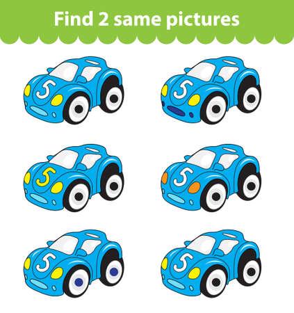 어린이 교육 게임. 두 장의 동일한 그림을 찾습니다. 게임에 대 한 자동차 장난감의 집합 두 개의 동일한 그림을 찾으십시오. 벡터 일러스트 레이 션. 일러스트