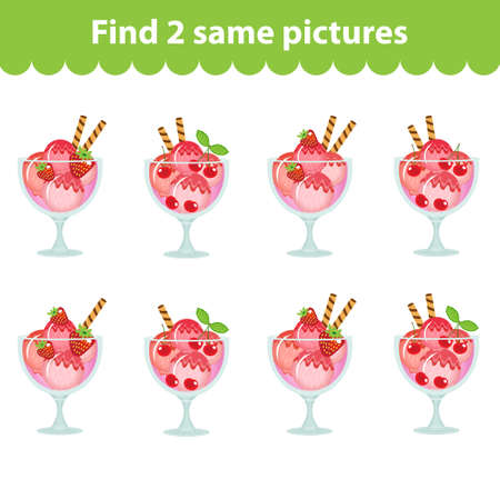 Children's educational game. Find two same pictures. Set of ice cream dessert for the game find two same pictures. Vector illustration.