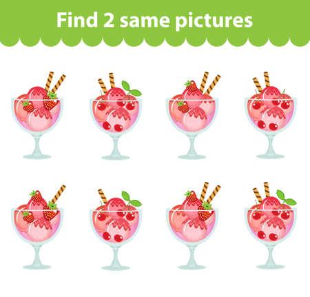 jeu éducatif pour enfants. Trouvez deux mêmes images. Ensemble de la crème glacée dessert pour le jeu trouver deux mêmes images. Vector illustration.