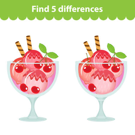 difference: Childrens educational game. Find the 5 differences in the picture. Ice cream image for the game Find the 5 differences. Find the difference game. Vector illustration.