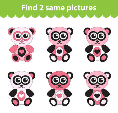 Children's educational game. Find two same pictures. Set of teddy bear for the game find two same pictures. Vector illustration. Vettoriali