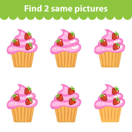 same: Childrens educational game. Find two same pictures. Set of cupcakes for the game find two same pictures. Vector illustration.