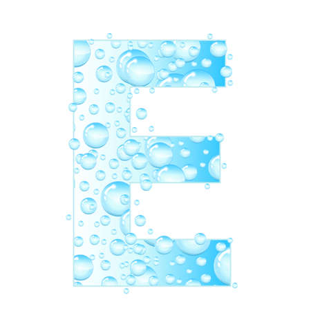 water liquid letter: Letters soap bubbles, water droplets. Letter from the water bubbles. Aqua letter. Vector illustration.